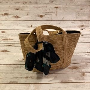 Draper James Straw Bag With Navy Blue Floral Scarf